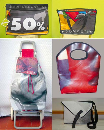 Bolsos de diseño con banderolas publicitarias