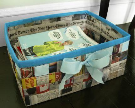 Cesta para mascota con periódicos reciclados
