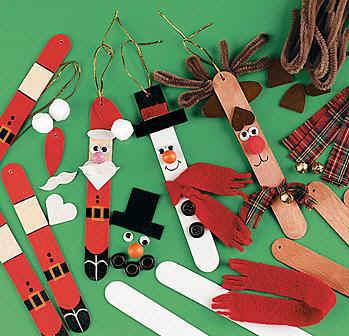 adornos de navidad papa noeles navideos con palos de helado artesanas