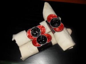 Decoración de la mesa navideña con servilleteros reciclados nespresso