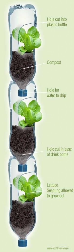Macetero vertical de botellas plásticas