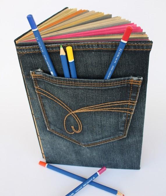 Funda para libros de tela reciclada: cubre libros con vaquero usado