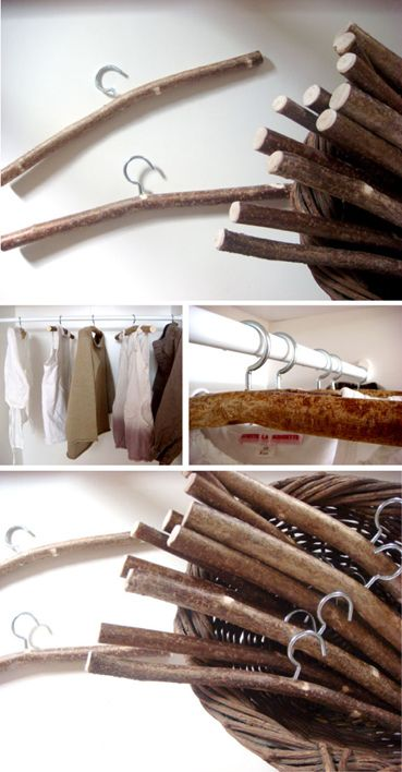 Reciclar ramas de rboles perchas con troncos - Perchas de madera blancas ...