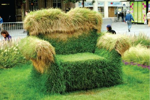 Sofá ecológico de hierba para jardín