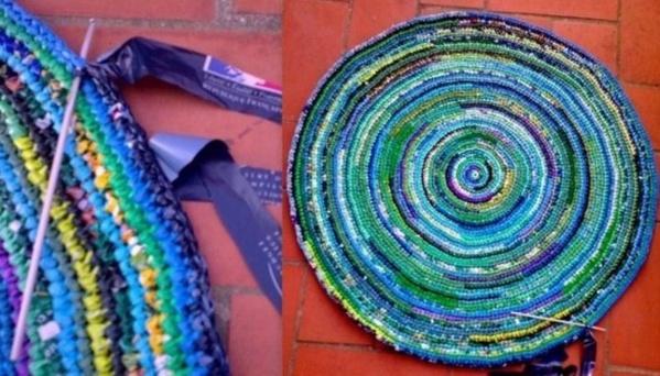 Reciclar bolsas de pl stico alfombra colorida para el - Alfombras de plastico ...