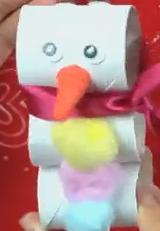 Muñeco de nieve con tubos de papel higienico