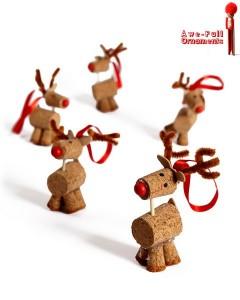 Adornos de renos de Navidad con corchos usados