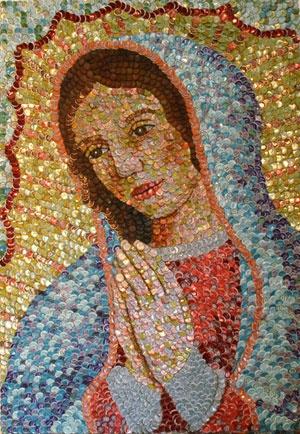 """Cuadro """"La Virgen Maria"""" con tapas de cerveza"""