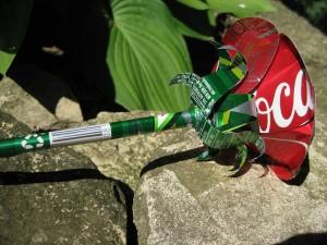 Rosa con latas de coca cola