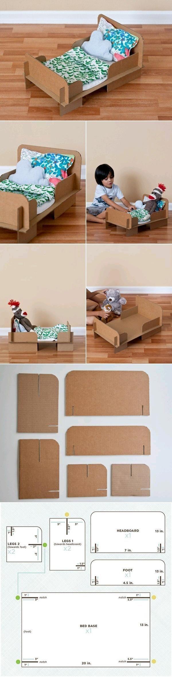 Tutorial cama cartón para muñecas
