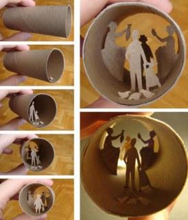 Casa de muñecas con tubo de cartón