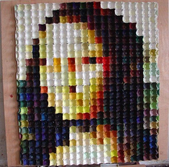 Cuadro Mona Lisa con hueveras grandes