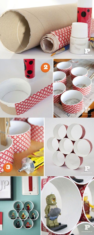 Ideas para habitaci n de ni os estanter as con tubos de for Estantes de carton