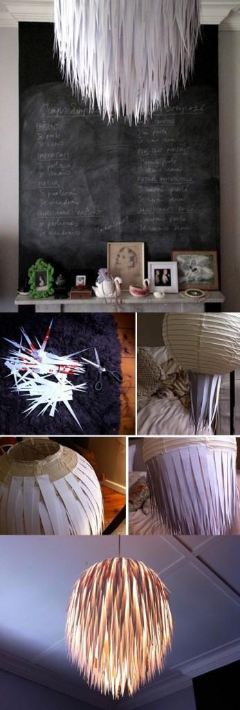 Cómo hacer una lámpara de techo paso a paso con trozos de papel