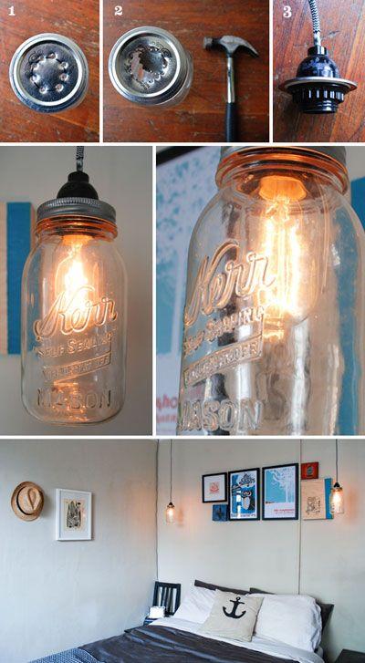 Cómo hacer  lámparas con tarros de cristal paso a paso