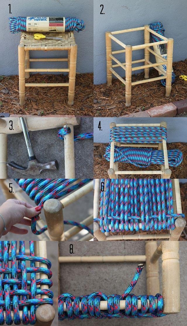 Taburete viejo de madera como nuevo con cuerdas