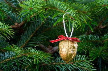 Adornos con nueces para decorar el pino de Navidad