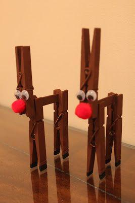 C mo hacer adornos de renos de navidad con pinzas de la ropa - Hacer manualidades con madera ...