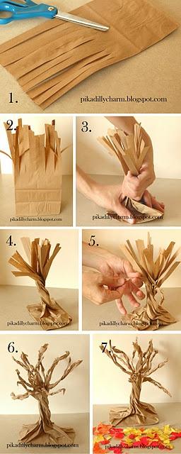 C mo hacer un rbol decorativo con una bolsa de papel paso - Hacer bolsas de papel en casa ...