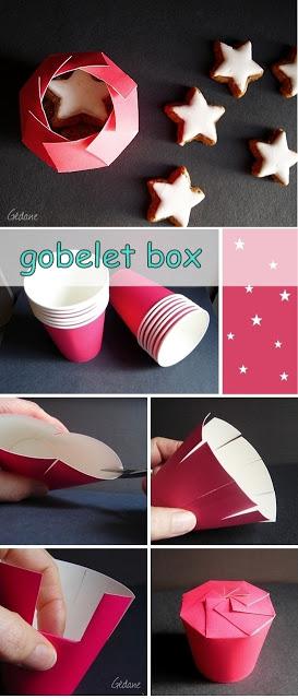 caja para regalo de navidad con vaso de papel