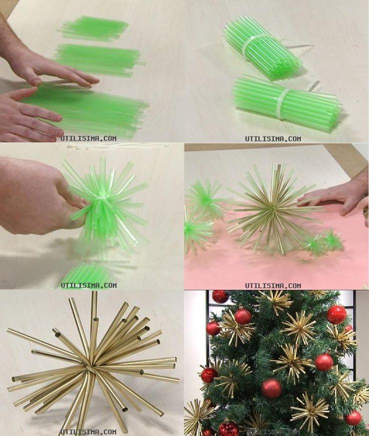Adornos estrella Navidad con pajitas o sorbetes