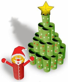 rbol navidad con rollos de papel