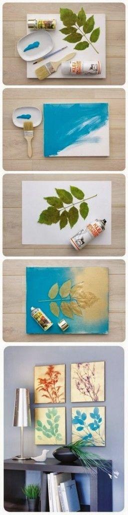 C mo hacer cuadros modernos baratos con hojas de ramas for Cuadros plateados baratos
