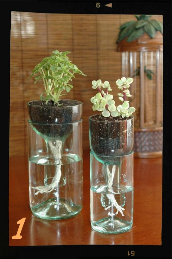 jarrn original con botella de vidrio cortada con hilo