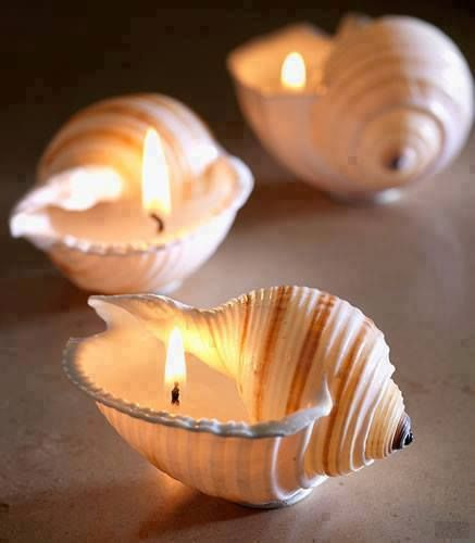 Velas para decorar y ambientar con caracolas de mar