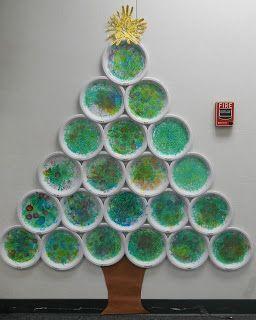 C mo hacer rbol de navidad de pared con platos de papel - Como hacer un arbol de papel grande ...