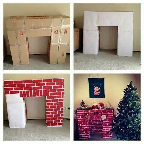 Cómo hacer chimenea de cartón para decoración navideña