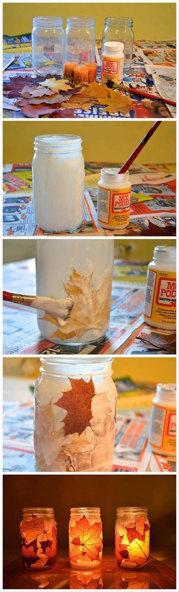 Reutilizar hojas de oto o para decorar tarros con decoupage - Hojas de otono para decorar ...