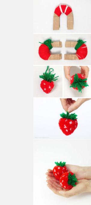 Pompones de fruta: como hacer fresas paso a paso