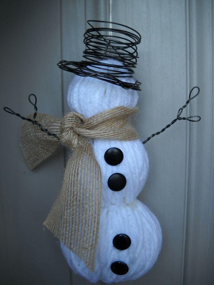 Muñeco de nieve con ovillos de lana