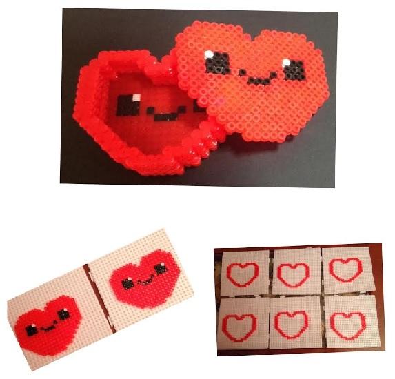Collage de pasos para hacer cajas de corazones contentos