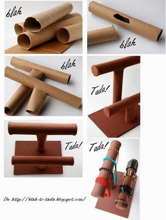 Expositor de bisutería con tubos de cartón de rollos de cocina