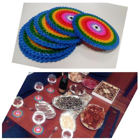 Collage estrenando posavasos arcoiris de hama midi