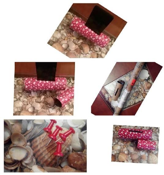 Collage piezas soporte teléfono móvil con tubo de cartón y washi tape