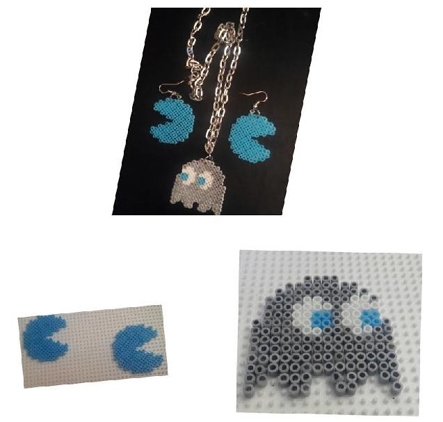 Conjunto pendientes pacman y colgante fantasma con hamabeads mini