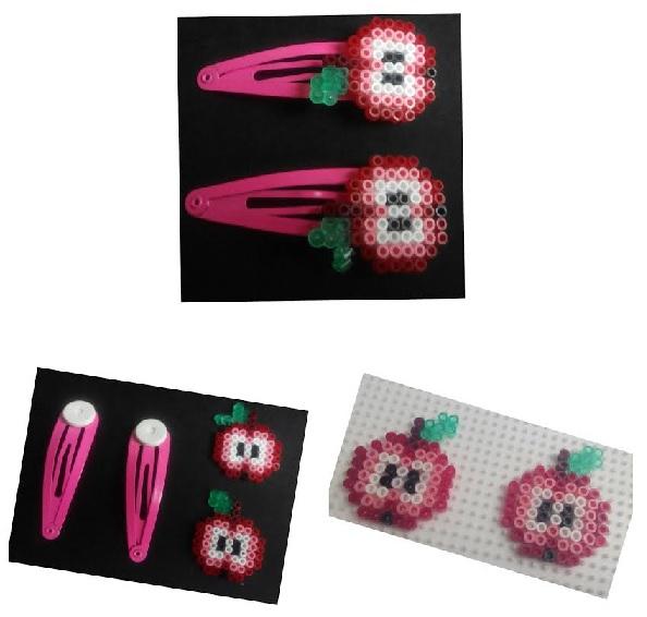 Collage de pasadores para niñas para el pelo de manzanas por la mitad