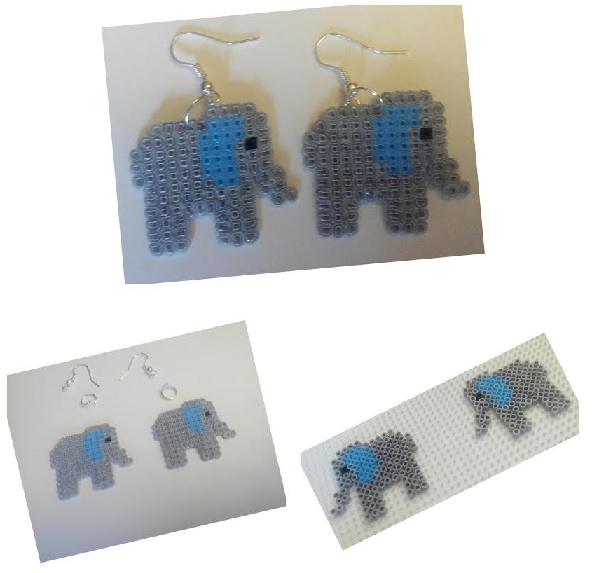 Piezas para hacer pendientes de elefantes de la fortuna