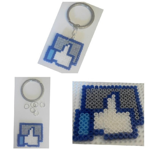 """Piezas llavero Facebook """"Me Gusta"""" con hama mini"""