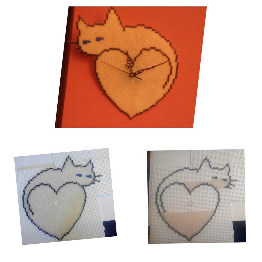 Reloj de pared corazón de gato con hama midi