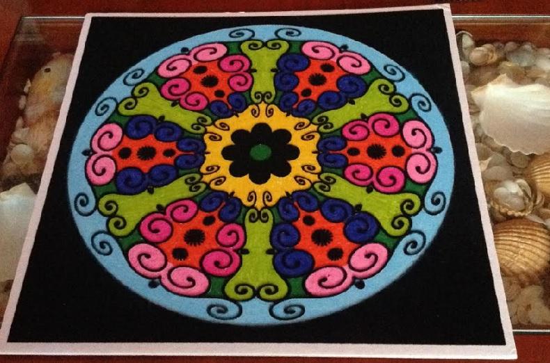 Mandala para superar la depresión pintado con rotuladores de colores