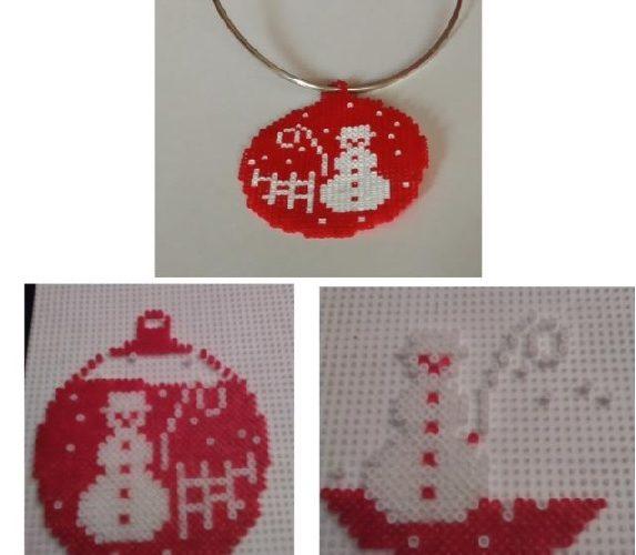 Colgante de bola de Navidad con muñeco de nieve de hamabeads