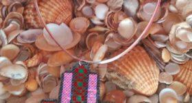 Mano  de fátima o hamsa con ojo con hamabeads mini