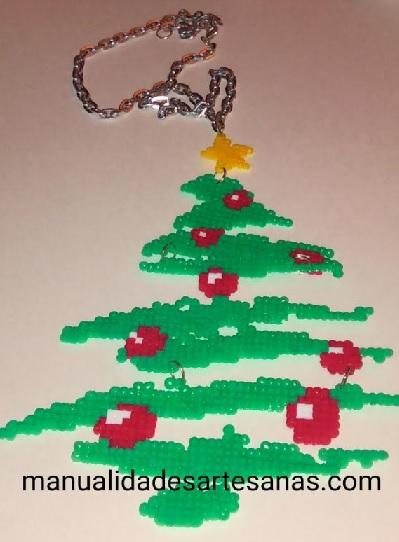 Collar de árbol de Navidad colgante de hamabeads mini