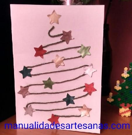 Postal de Navidad con lana y estrellas nespresso