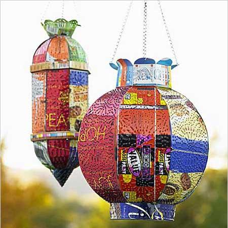 Lámparas de jardín con latas