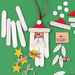 Papa Noel con palos de helado y cartulina